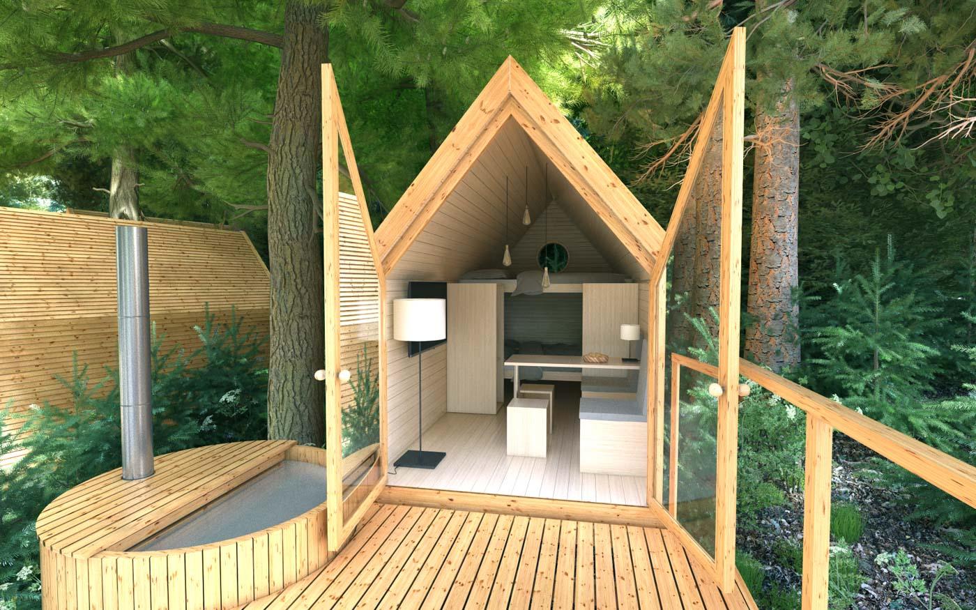 Holzhaus vom Bleds Glamping Ribno mitten in die Natur.